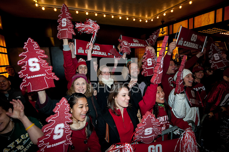 NEW YORK, NY--Stanford fans greet quarterback and Heisman candidate Andrew Luck upon his arrival at The Best Buy Theater in Times Square.