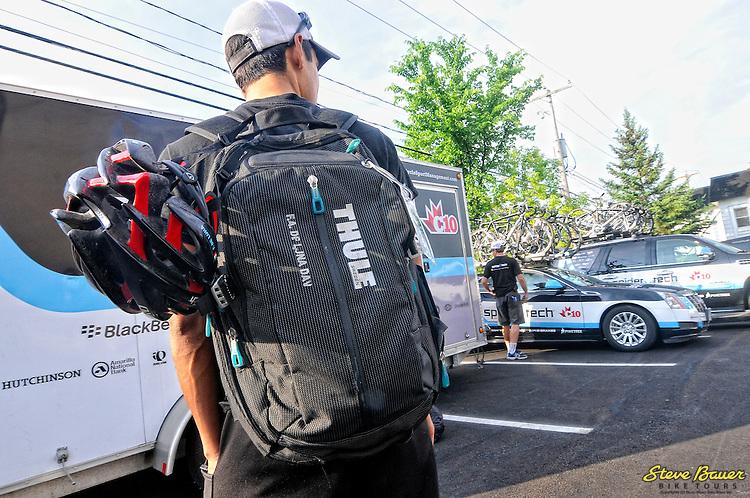 Flavio De Luna's Thule luggage before Stage 1 of the UCI 2.2 Tour de Beauce. Lac-Etchemin-Lac-Etchemin. June 12, 2012. Photo by Brian Hodes/VeloImages
