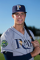 Joshua Lowe (7) of the Princeton Rays poses for a photo prior to the game against the Burlington Royals at Burlington Athletic Stadium on August 12, 2016 in Burlington, North Carolina.  The Royals defeated the Rays 9-5.  (Brian Westerholt/Four Seam Images)