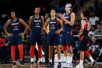 Washington, DC - July 30, 2019: Washington Mystics starting 5 during timeout of game between the Phoenix Mercury and the Washington Mystics at the Entertainment & Sports Arena in Washington, DC. The Mystics defeated the Mercury 99-93. (Photo by Phil Peters/Media Images International)