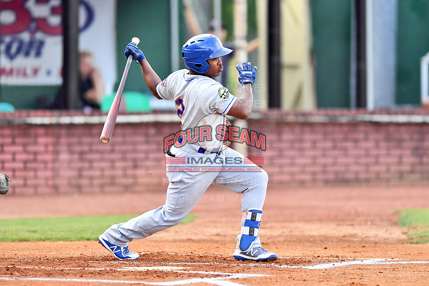 Kingsport Mets second baseman Luis Santana (2) swings at a pitch during a game against the Elizabethton Twins at Joe O'Brien Field on August 7, 2018 in Elizabethton, Tennessee. The Twins defeated the Mets 16-10. (Tony Farlow/Four Seam Images)