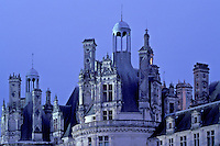 Chambord, Loire Valley, Loire Castle Region, France, castle, Loir-et-Cher, Centre, Europe, The Renaissance Chateau of Chambord in the evening. Largest of all the castles in the Loire Valley.
