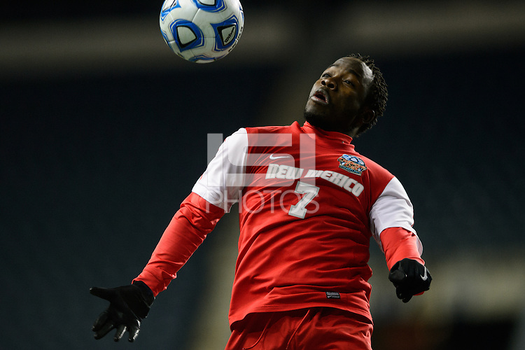 New Mexico Lobos forward James Rogers (7). The Notre Dame Fighting Irish defeated the New Mexico Lobos 2-0 during the semifinals of the 2013 NCAA division 1 men's soccer College Cup at PPL Park in Chester, PA, on December 13, 2013.