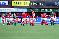 Wales celebrate winning at full time during the Women's Six Nations match between Wales and Ireland at Cardiff Arms Park, Cardiff, Wales, UK. Sunday 17 March 2019