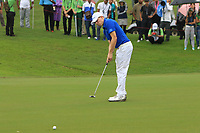 Matthew Fitzpatrick (Europe) on the 8th green during the Friday Foursomes of the Eurasia Cup at Glenmarie Golf and Country Club on the 12th January 2018.<br /> Picture:  Thos Caffrey / www.golffile.ie