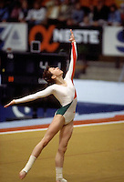 Bojanka Demireva of Bulgaria performs on floor exercise at 1985 European Championships in women's artistic gymnastics at Helsinki, Finland in late April, 1985.  Photo by Tom Theobald.