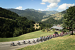 The peloton led by Team Sky in action during Stage 11 of the 2018 Tour de France running 108.5km from Albertville to La Rosiere Espace San Bernardo, France. 18th July 2018. <br /> Picture: ASO/Pauline Ballet | Cyclefile<br /> All photos usage must carry mandatory copyright credit (&copy; Cyclefile | ASO/Pauline Ballet)