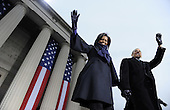Baltimore, MD - January 17, 2009 -- United States President-elect Barack Obama and his wife Michelle wave as they walk to a rally at War Memorial Plaza during a stop on their Whistle Stop Train Tour in Baltimore, Maryland on Saturday, January 17, 2009. The ceremonial trip will carry President-elect Obama, Vice President-elect Biden and their families to Washington for their inaugurations with additional events in Philadelphia, Wilmington and Baltimore. Obama will be sworn in as the 44th President of the United States on January 20, 2009.   .Credit: Kevin Dietsch - Pool via CNP