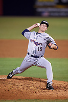 Lakeland Flying Tigers relief pitcher Drew Smith (19) delivers a pitch during a game against the Tampa Yankees on April 7, 2017 at George M. Steinbrenner Field in Tampa, Florida.  Lakeland defeated Tampa 5-0.  (Mike Janes/Four Seam Images)