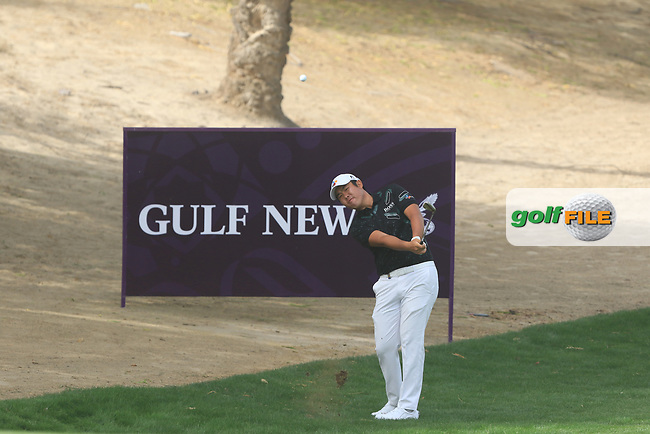 Beyond Hun An (KOR) on the 3rd during Round 1 of the Omega Dubai Desert Classic, Emirates Golf Club, Dubai,  United Arab Emirates. 24/01/2019<br /> Picture: Golffile | Thos Caffrey<br /> <br /> <br /> All photo usage must carry mandatory copyright credit (&copy; Golffile | Thos Caffrey)