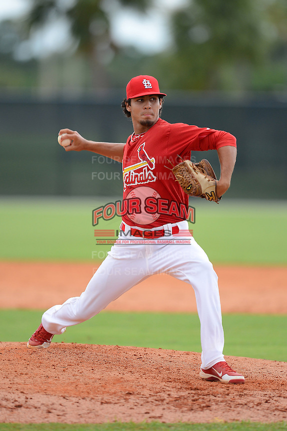 GCL Cardinals pitcher Juan Caballero (25) during the first game of a double header against the GCL Mets on July 17, 2013 at Roger Dean Complex in Jupiter, Florida.  GCL Cardinals defeated the GCL Mets 6-5 in twelve innings.  (Mike Janes/Four Seam Images)