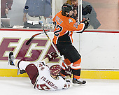 Ben Geelan 22 of Bowling Green turns away from Tim Filangieri 5 of Boston College. The Eagles of Boston College defeated the Falcons of Bowling Green State University 5-1 on Saturday, October 21, 2006, at Kelley Rink of Conte Forum in Chestnut Hill, Massachusetts.<br />
