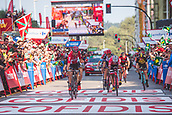 September 8th 2017, Gijon, Spain; Cycling, Vuelta a Espana Stage 19 Caso Parque Natural de Redes to Gijon; Thomas de Gendt crosses the finish line ahead of Jarlinson Pantano (Trek Segafredo) and Ivan Garcia Cortina (Bahrain Merida) and wins stage 19