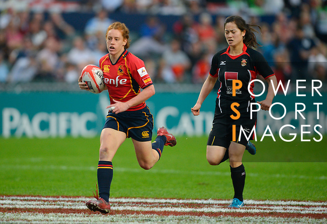 Spain vs China during the Hong Kong Women's Tournament at the Cathay Pacific / HSBC Hong Kong Sevens 2012 at the Hong Kong Football Club in Hong Kong, China on 23rd March 2012. Photo © Victor Fraile  / The Power of Sport Images