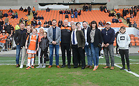 Blackpool's Manager Terry McPhillips poses with the match sponsors<br /> <br /> Photographer Kevin Barnes/CameraSport<br /> <br /> The EFL Sky Bet League One - Blackpool v Gillingham - Saturday 4th May 2019 - Bloomfield Road - Blackpool<br /> <br /> World Copyright © 2019 CameraSport. All rights reserved. 43 Linden Ave. Countesthorpe. Leicester. England. LE8 5PG - Tel: +44 (0) 116 277 4147 - admin@camerasport.com - www.camerasport.com