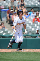 Trenton Thunder infielder Casey Stevenson (31) hits a home run during game against the Binghamton Mets at ARM & HAMMER Park on July 27, 2014 in Trenton, NJ.  Trenton defeated Binghamton 7-3.  (Tomasso DeRosa/Four Seam Images)