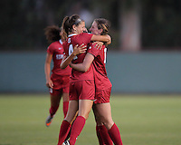 STANFORD, CA  – September 9, 2016: Stanford wins 4-1 over Minnesota at Cagan Stadium. Maddie Bauer and Tegan McGrady celebrate Andi Sullivan's first goal of the game.