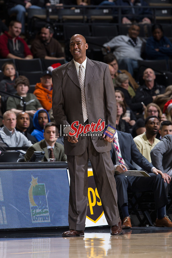 Wake Forest Demon Deacons head coach Danny Manning reacts to a play during first half action against the Coastal Carolina Chanticleers at the LJVM Coliseum on December 18, 2015 in Winston-Salem, North Carolina.  The Demon Deacons defeated the Chanticleers 83-77.  (Brian Westerholt/Sports On Film)