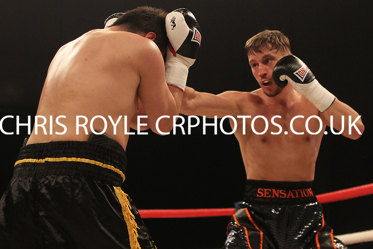 Sam O'Maison vs Jan Balog in a boxing contest at the Ponds Forge Arena, Sheffield, Yorkshire, promoted by Hennessy Sports - 23/03/14 - MANDATORY CREDIT: Chris Royle/TGSPHOTO -