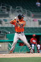 Baltimore Orioles first baseman Ian Evans (63) at bat during a Florida Instructional League game against the Boston Red Sox on September 21, 2018 at JetBlue Park in Fort Myers, Florida.  (Mike Janes/Four Seam Images)