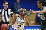 20 March 2015: Mississippi State's Morgan William (2) and Tulane's Courtnie Latham (33). The Mississippi State University Bulldogs played the Tulane University Green Wave at Cameron Indoor Stadium in Durham, North Carolina in a 2014-15 NCAA Division I Women's Basketball Tournament first round game.