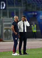 Football, Serie A: S.S. Lazio - Cagliari, Olympic stadium, Rome, July 23, 2020. <br /> Lazio's coach Simone Inzaghi (r) speaks with Cagliari's  Walter Zenga (l) at the end of  the Italian Serie A football match between Lazio and Cagliari at Rome's Olympic stadium, Rome, on July 23, 2020. <br /> UPDATE IMAGES PRESS/Isabella Bonotto