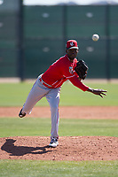 Cincinnati Reds relief pitcher Robinson Leyer (39) during a Minor League Spring Training game against the Chicago White Sox at the Cincinnati Reds Training Complex on March 28, 2018 in Goodyear, Arizona. (Zachary Lucy/Four Seam Images)