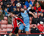 Stefan Scougall of Sheffield Utd tussles with Ollie Palmer of Leyton Orient during the Emirates FA Cup Round One match at Bramall Lane Stadium, Sheffield. Picture date: November 6th, 2016. Pic Simon Bellis/Sportimage
