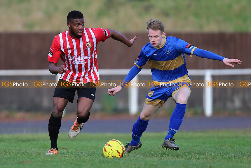 Usman Adeniji of Hornchurch evades Ryan Boswell of Romford during AFC Hornchurch vs Romford, Ryman League Division 1 North Football at Hornchurch Stadium on 4th February 2017