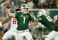 NWA Democrat-Gazette/BEN GOFF @NWABENGOFF<br /> K.J. Carta-Samuels, Colorado State quarterback, throws the ball in the 3rd quarter vs Arkansas Saturday, Sept. 8, 2018, at Canvas Stadium in Fort Collins, Colo.