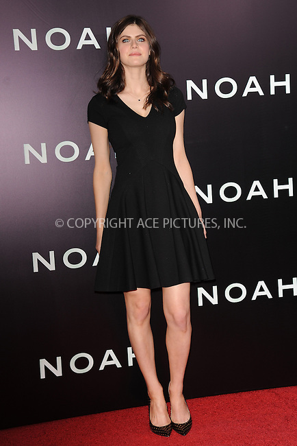 WWW.ACEPIXS.COM<br /> March 26, 2014 New York City<br /> <br /> Alexandra Daddario attends the 'Noah' New York premiere at Ziegfeld Theatre on March 26, 2014 in New York City.<br /> <br /> Please byline: Kristin Callahan<br /> <br /> ACEPIXS.COM<br /> <br /> Tel: (212) 243 8787 or (646) 769 0430<br /> e-mail: info@acepixs.com<br /> web: http://www.acepixs.com