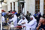 QATAR, Doha, Bazar Souq Waqif, sheikh in shisha cafe / KATAR, Doha, Basar Souk Wakif, Scheichs in Shisha Cafe