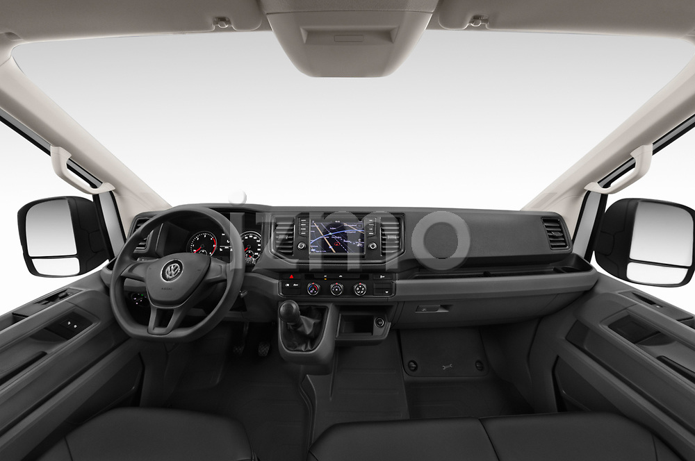 Stock photo of straight dashboard view of a 2019 Volkswagen Crafter Base 4 Door Cargo Van