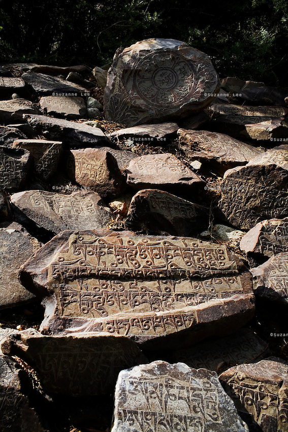 Carved Tibetan Buddhist prayer slabs of rock are laid in abundance on a wall next to the stupas and monastery of Hundar, Nubra Valley, Ladakh on 4th June 2009.  Photo by Suzanne Lee