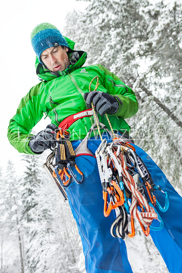 Andy Turner gearing up for some ice climbing, BC, Canada