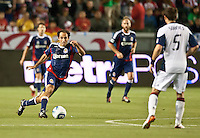 CARSON, CA – APRIL 30, 2011: Chivas USA midfielder Nick LaBrocca (10) moves the ball up the pitch during the match between Chivas USA and New England Revolution at the Home Depot Center, April 30, 2011 in Carson, California. Final score Chivas USA 3, New England Revolution 0.