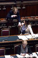 Roma, 13 Febbraio 2015<br /> Camera dei Deputati<br /> Voto degli emendamenti sulla riforma della costituzione.<br /> Luca Lotti e la Ministra Maria Elena Boschi che vota
