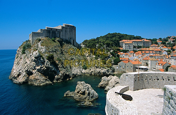 Lovrijenac Fort taken from old city walls, Dubrovnik, Dalmatian Coast, Croatia, Former Yugoslavia