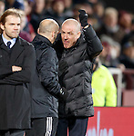 Mark Warburton with the fourth official after the disallowed goal