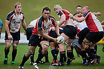 Fellow forwards watch Taiasina Tuifua head over the halfway. Air New Zealand Cup pre-season rugby game between the Counties Manukau Steelers & Northland, played at Growers Stadium on July 21st, 2007. Counties Manukau won 28 - 17.