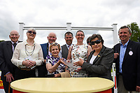 Connections of Simply Breathless receive their trophy for winning The Bathwick Tyres Novice Auction Stakes(plus 10, Div 2), during Afternoon Racing at Salisbury Racecourse on 13th June 2017