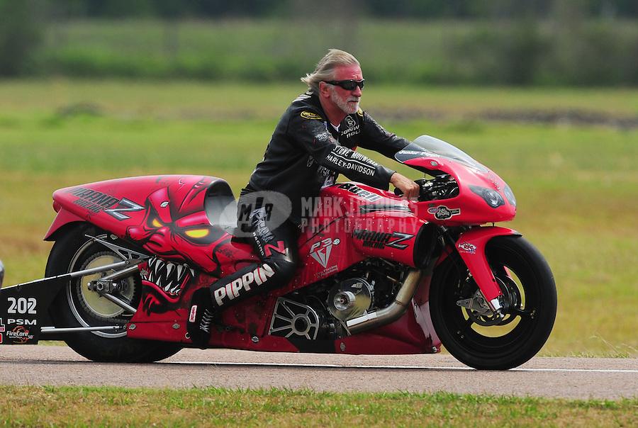 April 30, 2011; Baytown, TX, USA: NHRA pro stock motorcycle rider Junior Pippin during the Spring Nationals at Royal Purple Raceway. Mandatory Credit: Mark J. Rebilas-