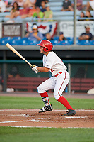 Auburn Doubledays second baseman Kyle Marinconz (4) hits a single during a game against the Lowell Spinners on July 13, 2018 at Falcon Park in Auburn, New York.  Lowell defeated Auburn 8-5.  (Mike Janes/Four Seam Images)