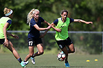 CARY, NC - APRIL 20: Lynn Williams (9) and Courtney Niemiec (17). The North Carolina Courage held a training session on April 20, 2017, at WakeMed Soccer Park Field 7 in Cary, NC.