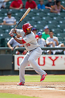 Memphis Redbirds first baseman Xavier Scruggs (16) at bat during the first game of a Pacific Coast League doubleheader against the Round Rock Express on August 3, 2014 at the Dell Diamond in Round Rock, Texas. The Redbirds defeated the Express 4-0. (Andrew Woolley/Four Seam Images)