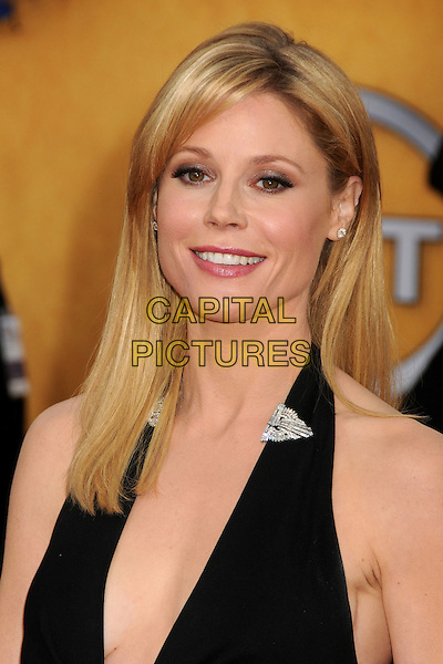 JULIE BOWEN.17th Annual Screen Actors Guild Awards held at The Shrine Auditorium, Los Angeles, California, USA..January 30th, 2011.SAG headshot portrait black halterneck silver brooch arrivals.CAP/ADM/BP.©Byron Purvis/AdMedia/Capital Pictures.