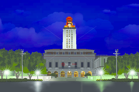 Illustration graphic of Austin University Campus tower lit up brightly after an athletics win