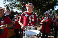 STANFORD, CA - The Stanford Cardinal band rallies the home crowd during homecoming celebrations outside Stanford Stadium.