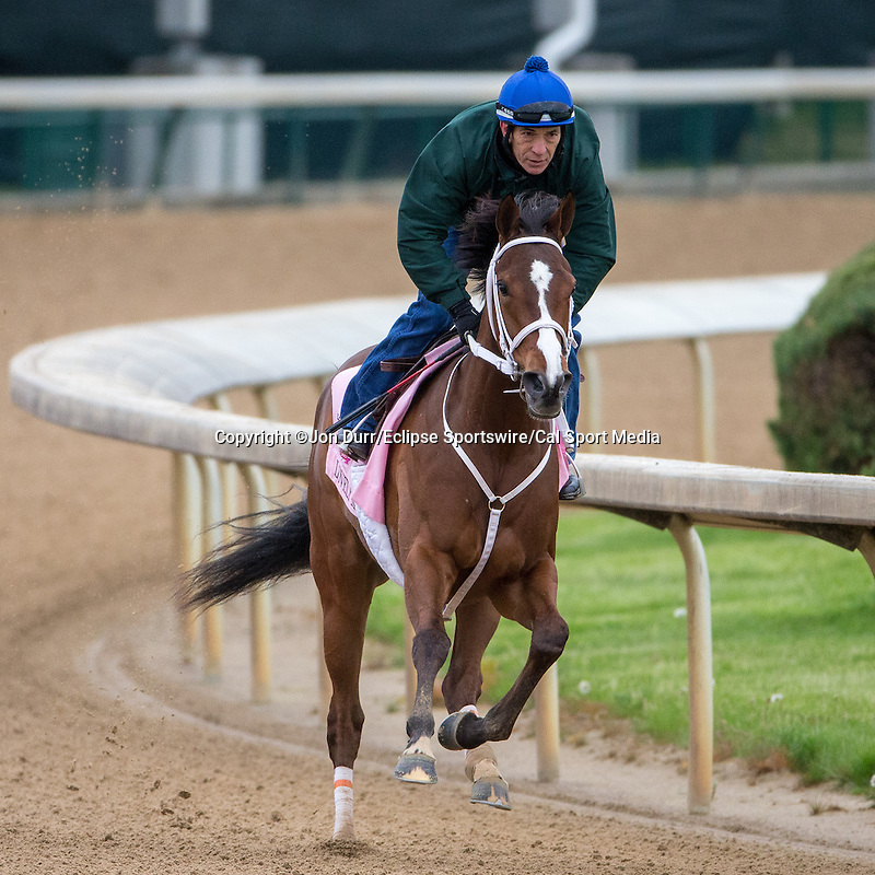 APRIL 26, 2015: Lovely Maria, trained by Larry Jones exercises in preparation for the 141st Kentucky Oaks at Churchill Downs in Louisville, KY. Jon Durr/ESW/Cal Sport Media
