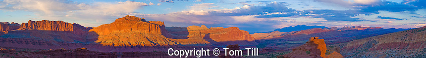 Panoramic view of Sunset Point  Capitol Reef National Park, Utah    Henry Mountains and Waterpocket Fold